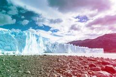 Glacier landscape view, holiday travel. Global warming and clima. The Perito Moreno Glacier is a glacier located in the Los Glaciares National Park in Santa Cruz Stock Image
