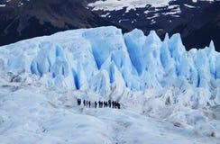 Perito Moreno Glacier Mini Trekking with Tourists, Santa Cruz Argentina. Glaciar Perito Moreno is a glacier located in the Los Glaciares National Park in stock images