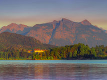 Perito Moreno Lake. Sunrise on the lake Perito Moreno with the Hotel Llao Llao - Bariloche - Patagonia - Argentina Royalty Free Stock Images