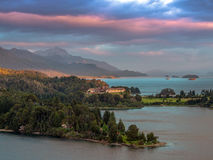 Perito Moreno Lake. Sunrise on the lake Perito Moreno with the Hotel Llao Llao in peninsula - Bariloche - Patagonia - Argentina Royalty Free Stock Images