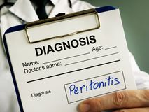 Peritonitis diagnosis. Doctor holds medical documents