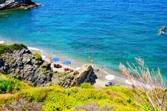 Perivoliou pla?a przy Skopelos, Grecja zdjęcia stock