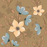 Seamless vintage decorative periwinkle pattern stock illustration
