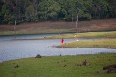 PERIYAR野生生物SANCTUARRY, INDIA-FEBRUARY 20 :Fisheman 20, 201 免版税库存照片