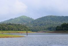 Periyar Lake with Hills in Background on a Clear Day, Thekkady, Kerala, India Royalty Free Stock Images