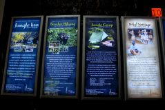 Periyar National Park and Wildlife Sanctuary. December 09,2012 Periyar,Kumily,Idukki,Kerala,India,Asia-Advertise glow sign board in the forest office of Periyar Royalty Free Stock Photos