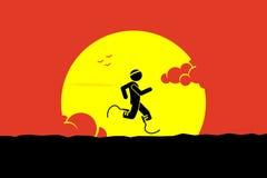 Perjudique el corredor que corre con las cuchillas o la pierna corrientes de la odontología libre illustration