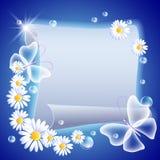 Perkament met bloemen en butterfliers vector illustratie