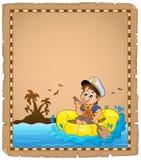 Perkament met kleine zeeman Royalty-vrije Stock Foto's