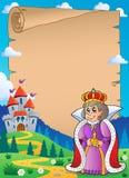 Perkament met koningin dichtbij kasteel 2 Stock Foto