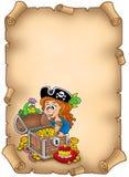 Perkament met piraatmeisje en schat Stock Afbeelding