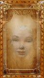 Perkamentdocument Abstract Vrouwengezicht Stock Foto's