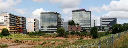 Perkunkiemis residential block - new view of Vilnius city. Stock Photos