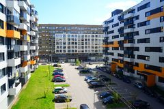 Perkunkiemis residential block - new view of Vilnius city Royalty Free Stock Photography