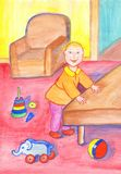 Perky babe playing in the comfort of your living room among the toys. Children`s illustration royalty free illustration