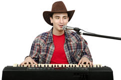 Perky cowboy singing country songs Royalty Free Stock Image