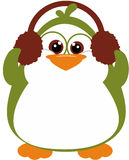Perky Penguin with earmuffs. Happy Husky Penguin wearing earmuffs Royalty Free Stock Image