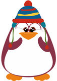 Perky Penguin with winter hat. Excited Penguin wearing a winter hat Royalty Free Stock Photography