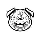 Perky pug smiling. From ear to ear he joyful and pleasant vector can be used to store logos signage dog food Royalty Free Stock Photos