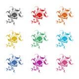 Perla del mar en la cáscara abierta, el icono o el logotipo, sistema del ornamento floral de color stock de ilustración