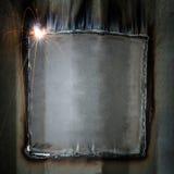 Perla della saldatura dalla riparazione della parete del contenitore Fotografia Stock Libera da Diritti