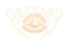 Perla rosada realista en la cáscara stock de ilustración
