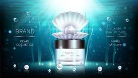 Perla y cartel realista de los anuncios de los cosméticos de las algas stock de ilustración