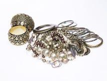 Perla y collares y pulseras de la plata Foto de archivo libre de regalías