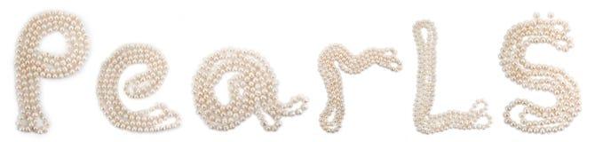 Perlas de la palabra fijadas de perls Imagen de archivo libre de regalías