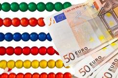 Perle dell'abaco con l'euro Immagini Stock