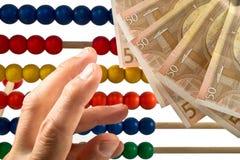 Perle dell'abaco con l'euro, Immagine Stock