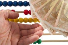 Perle dell'abaco con l'euro Immagine Stock