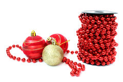 Perle e palle rosse della bobina Fotografia Stock