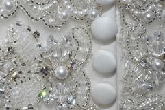 Perle et Crystal Wedding Dress Detail Photographie stock libre de droits
