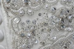 Perle et Crystal Wedding Dress Detail Images stock