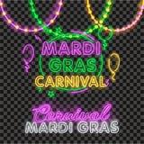 Perle isolate realistiche di vettore per Mardi Gras per la decorazione e la copertura sui precedenti trasparenti Concetto di Mard illustrazione di stock