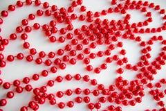 Perle rosse di natale Fotografia Stock Libera da Diritti
