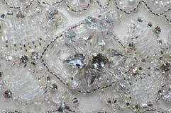 Perle und Crystal Wedding Dress Detail Stockfoto
