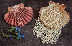 Perlen und ein Ring liegen in einem exotischen Oberteil Stockbilder