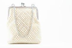 Perlenbesetzte Handtasche klassischer Dame der Weinlese weißer Lizenzfreie Stockfotografie