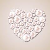 Perlenherzvektor-Illustrationshintergrund Stockfoto