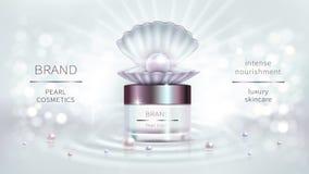 Perlenkosmetik, realistisches Werbungsplakat des Vektors lizenzfreie abbildung