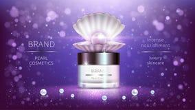 Perlenkosmetik, realistisches Werbungsplakat des Vektors stock abbildung