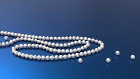 Perlenperlen auf blauem Hintergrund 3d übertragen lizenzfreie abbildung