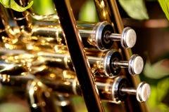 Perlenventile einer Trompete Stockbilder