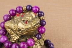 Perles bijoux et grenouille d'argent Photographie stock