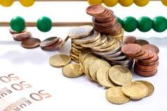 Perles d'abaque avec l'euro, Photographie stock