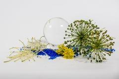 Perles de bleu de fleur de jaune de boule en verre Photo stock
