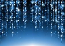 Perles en verre bleues accrochant le fond Photographie stock libre de droits