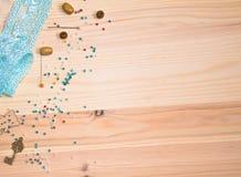 perles et boutons et goupilles de ruban Photo stock